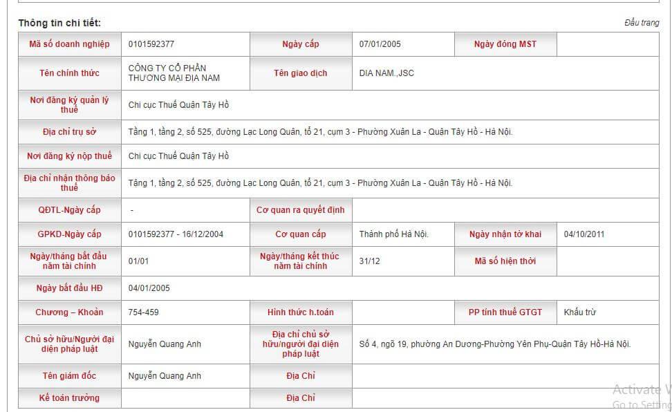 Hệ thống website tổng cục thuế hiển thị cụ thể thông tin bạn cần tra cứu