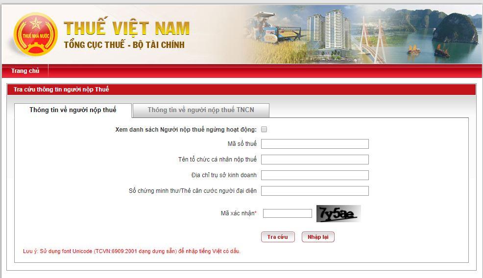 Giao diện website tra cứu thông tin người nộp thuế