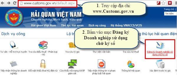 Truy cập website của Tổng cục Hải Quan