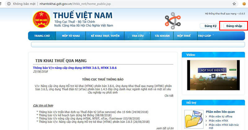 Đăng nhập trang Thuế Việt Nam