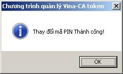 Thông báo đổi mã Pin Vina ca thành công