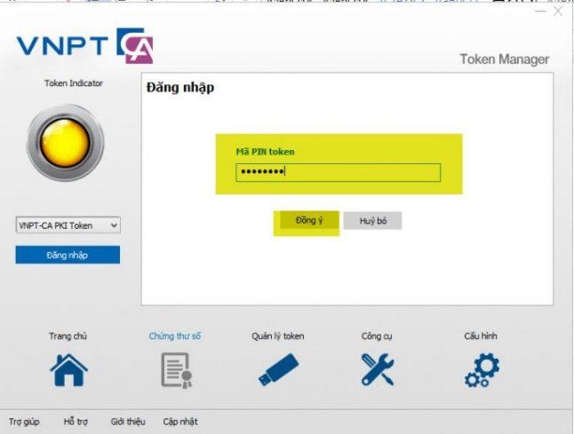 Nhập mã Pin token mặc định