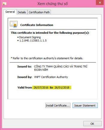 Thời gian đăng ký ( ngày đăng ký và ngày hết hạn chứng thư số)