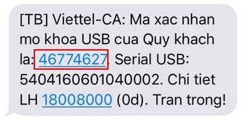 mã mở khóa gởi về sms điện thoại