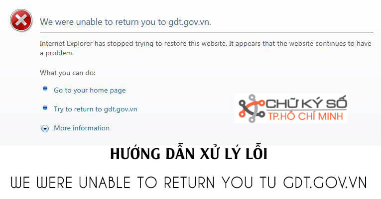 loi We were unable to return you to gdt gov vn