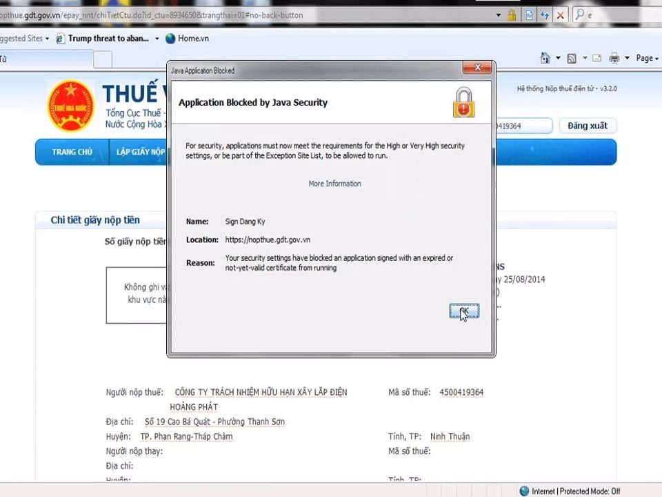 Application blocked by Java Security 1