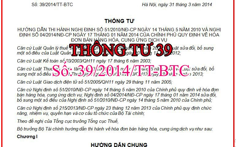 thong tu 39 ve hoa don