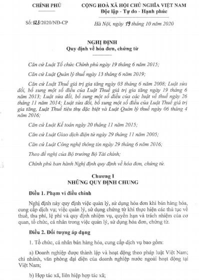 NGHỊ ĐỊNH 123/2020/ND-CP BAN HÀNH NGÀY 19/10/2020