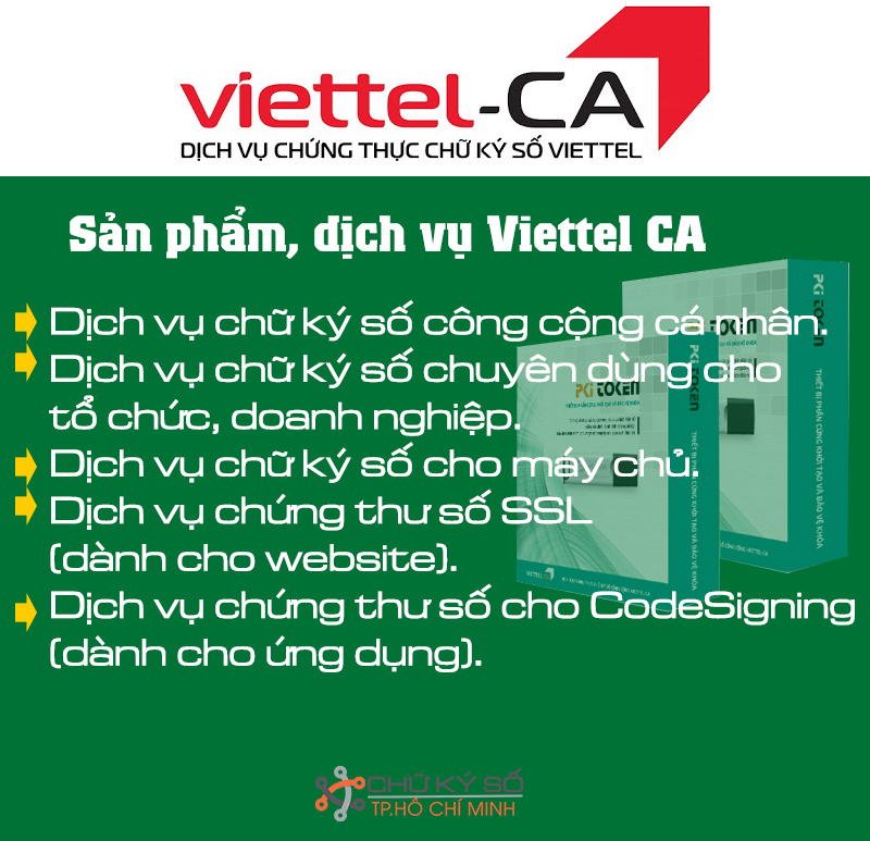 Sản phẩm dịch vụ chữ ký số Viettel CA
